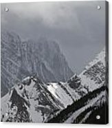 Mountain Peaks In Clouds, Spray Lakes Acrylic Print