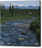 Mountain Stream With Cabin In Evergreen Acrylic Print