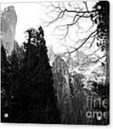 Mountains Of Yosemite . 7d6213 . Black And White Acrylic Print