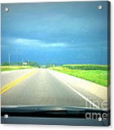 Moving Along Driver Seat View Acrylic Print