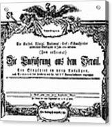 Mozart: Seraglio, 1782 Acrylic Print
