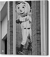 Mr Met In Black And White Acrylic Print by Rob Hans