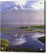 Mt Rainier An Active Volcano Encased Acrylic Print