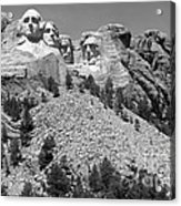 Mt. Rushmore Full View In Black And White Acrylic Print