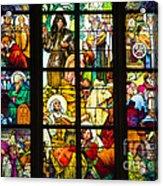 Mucha Window St Vitus Cathedral Prague Acrylic Print by Matthias Hauser