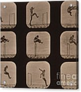 Muybridge Locomotion Of Man Jumping Acrylic Print by Photo Researchers