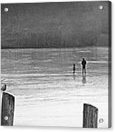 My First Walk On Water Bw Acrylic Print