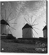 Mykonos Windmills Acrylic Print by Leslie Leda