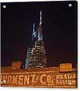 Nashville Downtown Night Scene Acrylic Print by Douglas Barnett