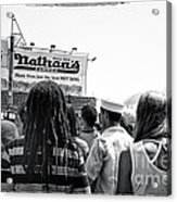 Nathan's Crowd In Coney Island 2 Acrylic Print