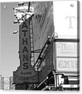 Nathan's Famous At Coney Island In Black And White Acrylic Print
