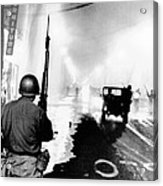 National Guard In Watts During The 1965 Acrylic Print by Everett