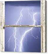 Nature Strikes White Rustic Barn Picture Window Frame Photo Art Acrylic Print