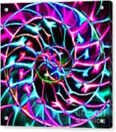 Nautilus Shell Ying And Yang - Electric - V2 - Violet Acrylic Print