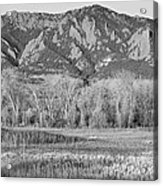 Ncar And Flatiron View Boulder Colorado Bw Acrylic Print