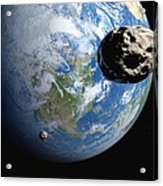 Near-earth Asteroids, Artwork Acrylic Print by Detlev Van Ravenswaay