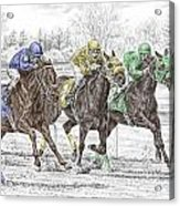 Neck And Neck - Horse Race Print Color Tinted Acrylic Print