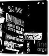 Neon Sign Bourbon Street Corner French Quarter New Orleans Black And White Conte Crayon Digital Art Acrylic Print