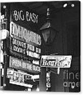 Neon Sign On Bourbon Street Corner French Quarter New Orleans Black And White Film Grain Digital Art Acrylic Print