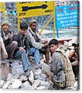 Nepali Labourers At Devraprayag Acrylic Print