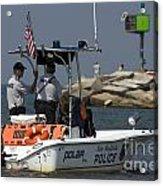 New Buffalo Michigan Police Boat Patrolling Harbor Acrylic Print