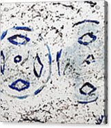 New Year Rolls Around With Abstracted Splatters In Blue Silver White Representing Snow Excitement Acrylic Print