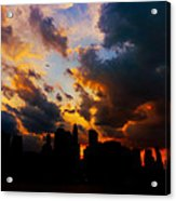 New York City Skyline At Sunset Under Clouds Acrylic Print