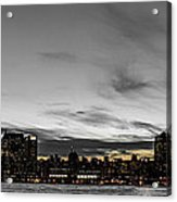 New Yorks Skyline At Night Colorkey Acrylic Print