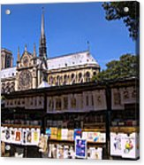 Newstand Next To Notre Dame Acrylic Print