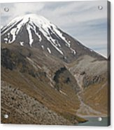 Ngauruhoe Cone And Upper Tama Lake Acrylic Print