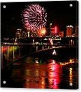 Niagara Falls Fireworks Acrylic Print by Mark J Seefeldt