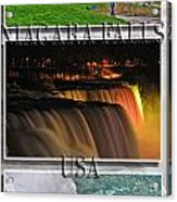 Niagara Falls Usa Triptych Series With Text Acrylic Print