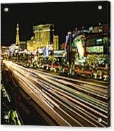Night Exposure Of The Strip On Las Acrylic Print