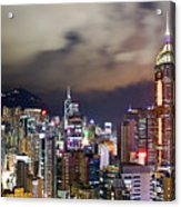 Night View Of Hong Kong Island Acrylic Print