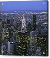 Night View Of The Manhattan Skyline Acrylic Print by Todd Gipstein