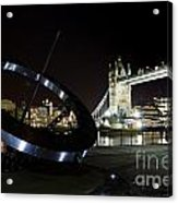 Night View Of The Thames Riverbank Acrylic Print