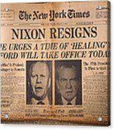 Nixon Resigns: Newspaper Acrylic Print