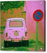 No Parking Sign With Pink Car Acrylic Print