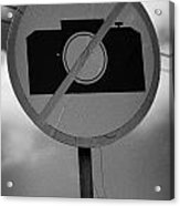 no photography sign at the greek cypriot army border post at the UN buffer zone cyprus green line Acrylic Print