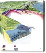 North American Geology And Oil Slick Acrylic Print by Gary Hincks