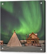 Northern Lights Above Village Acrylic Print