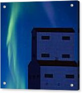 Northern Lights And Grain Elevator 2 Acrylic Print