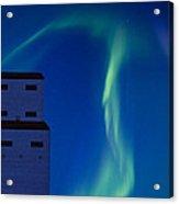 Northern Lights And Grain Elevator Acrylic Print
