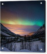 Northern Lights In Snow Valley Acrylic Print