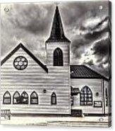 Norwegian Church Cardiff Bay Cream Acrylic Print