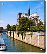 Notre Dame Cathedral Along The Seine River Acrylic Print