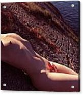 Nude Woman Lying On Rocks By The Water Acrylic Print