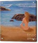 Nude Woman On Beach Acrylic Print