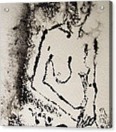 Nude Young Female That Is Mysterious In A Whispy Atmospheric Hand Wringing Pose Monoprint Intaglio Acrylic Print