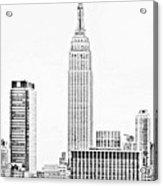 Ny Skyline - Black And White Acrylic Print